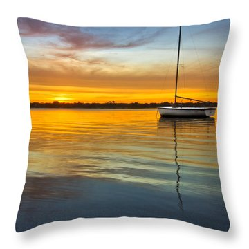White Boat Throw Pillow by Debra and Dave Vanderlaan