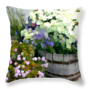 White Chrysanthemums In A Barrel Throw Pillow by Elaine Plesser