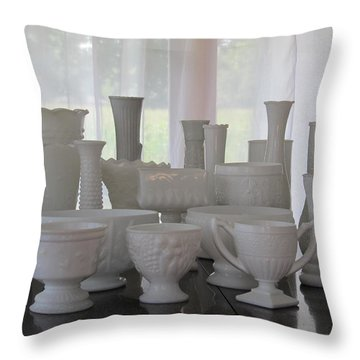 Throw Pillow featuring the photograph White Milkglass Collection by Tina M Wenger