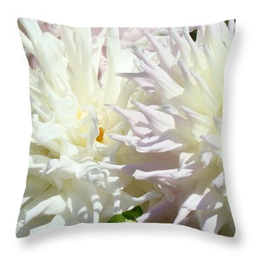 White Dahlia Flowers Art Prints Floral Throw Pillow by Baslee Troutman