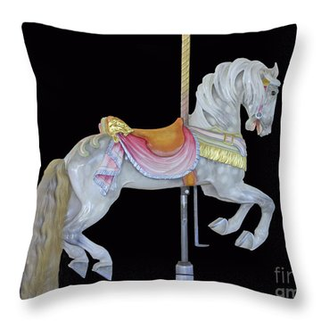 Throw Pillow featuring the photograph White Dappled Carousel Horse by Cindy Lee Longhini