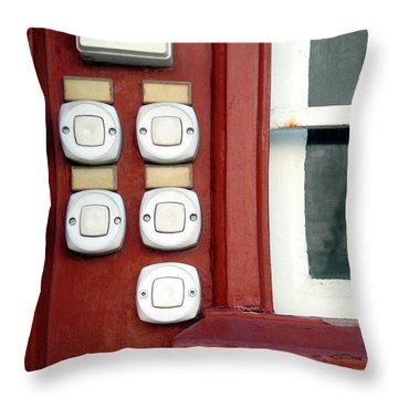 White Doorbells Throw Pillow by Carlos Caetano