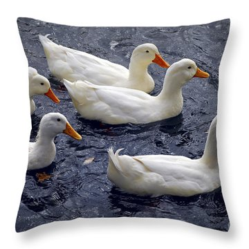 White Ducks Throw Pillow by Elena Elisseeva