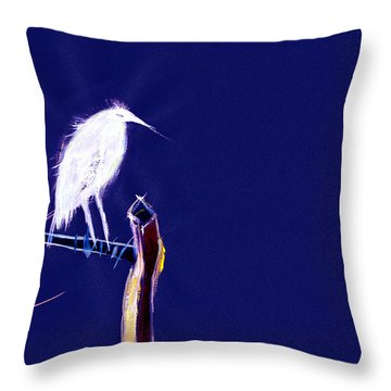 White Egret Throw Pillow by Anil Nene