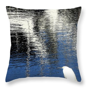White Egret On Dock With Colorful Reflections Throw Pillow by Anne Mott