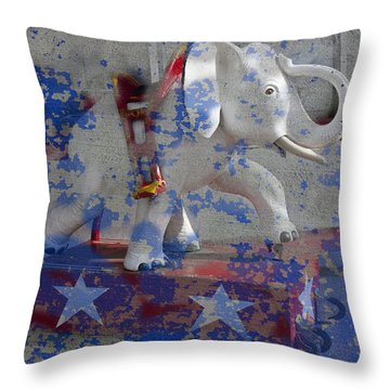 White Elephant Ride Abstract Throw Pillow by Garry Gay