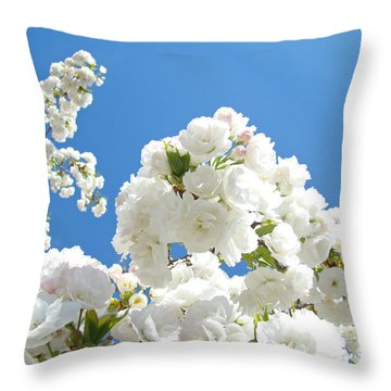 White Floral Blossoms Art Prints Spring Tree Blue Sky Throw Pillow by Baslee Troutman