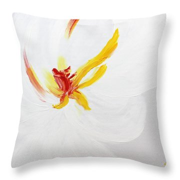Throw Pillow featuring the painting White Flower by Kume Bryant