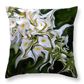 White Flowers 2 Throw Pillow by Renate Nadi Wesley