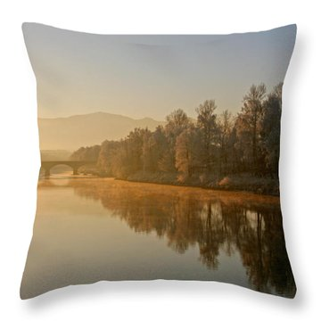 White Frost Landscape 2 Throw Pillow by Ralf Kaiser