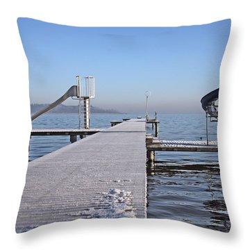 White Frost Slide Throw Pillow by Ralf Kaiser