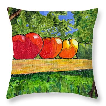 White Heath Tomatoes Throw Pillow by Phil Strang