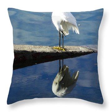 Throw Pillow featuring the digital art White Heron by Anne Mott