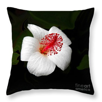 Throw Pillow featuring the photograph White Hibiscus Flower by Rebecca Margraf