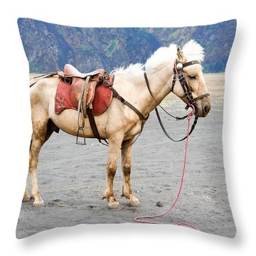 White Horse Throw Pillow by Yew Kwang