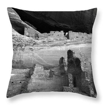 White House Ruin Canyon De Chelly Monochrome Throw Pillow by Bob Christopher