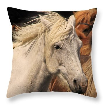 White Icelandic Horse Throw Pillow