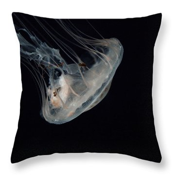 White Jelly In Black Space Throw Pillow