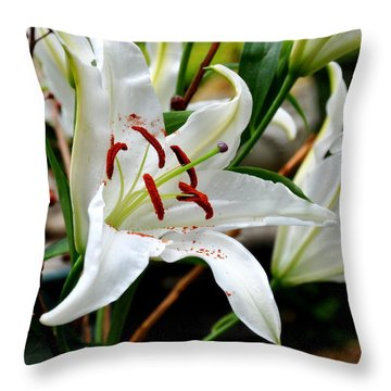 Throw Pillow featuring the photograph White Lilies Bouquet 1 by Tanya  Searcy