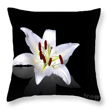 White Lily Throw Pillow by Jane Rix