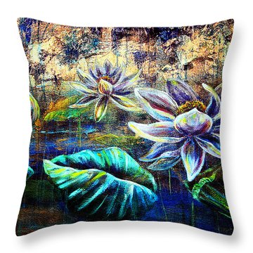 Throw Pillow featuring the painting White Lotus by Ashley Kujan