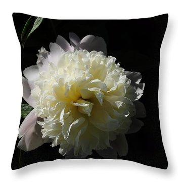 White On Black Peony Throw Pillow