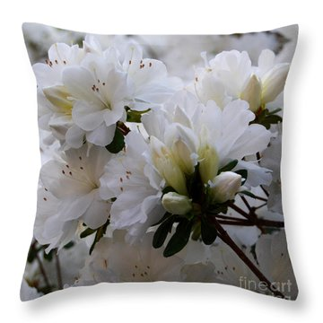 White On White Throw Pillow by Linda Mesibov