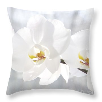 Throw Pillow featuring the photograph White Orchid by Cindy Lee Longhini