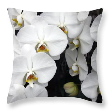 Throw Pillow featuring the photograph White Orchids by Debbie Hart