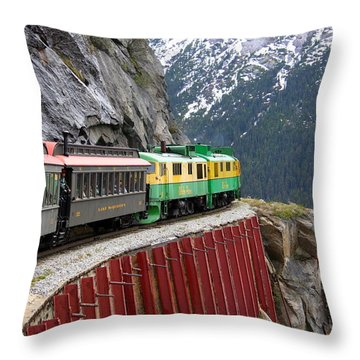 Throw Pillow featuring the photograph White Pass Train Ride by Laurel Talabere