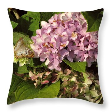 White Peacock On Hydrangea Throw Pillow