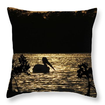 Throw Pillow featuring the photograph White Pelican Evening by Dan Friend