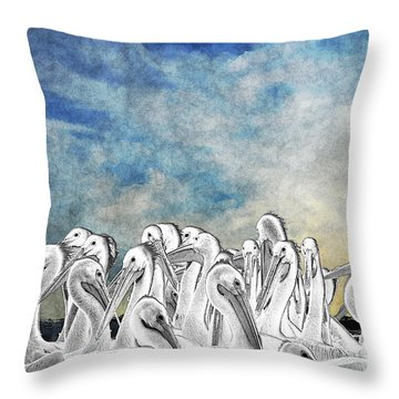 White Pelicans In Group Throw Pillow by Dan Friend