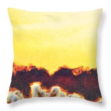 Throw Pillow featuring the photograph White Pelicans In Sun by Dan Friend