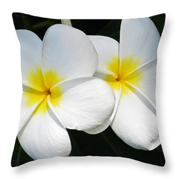 Throw Pillow featuring the photograph White Plumerias by Shane Kelly