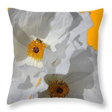 White Poppies On Yellow Throw Pillow