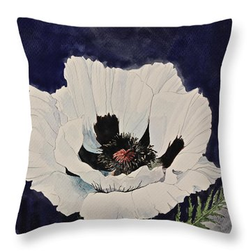 White Poppy-posthumously Presented Paintings Of Sachi Spohn  Throw Pillow
