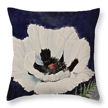 White Poppy-posthumously Presented Paintings Of Sachi Spohn  Throw Pillow