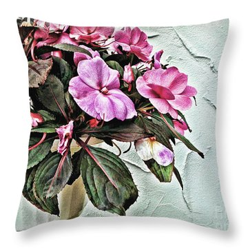 White Pot Throw Pillow by Joan  Minchak