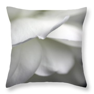 White Rose Flower Petals Throw Pillow by Jennie Marie Schell