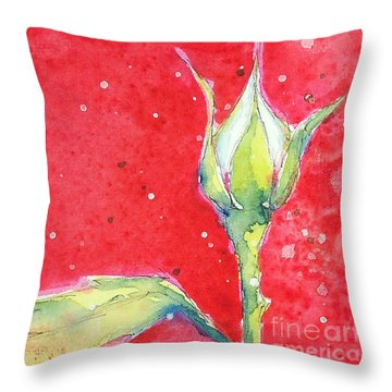 White Rosebud Throw Pillow
