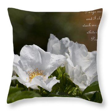 White Roses - Purge Me With Hyssop Throw Pillow by Kathy Clark