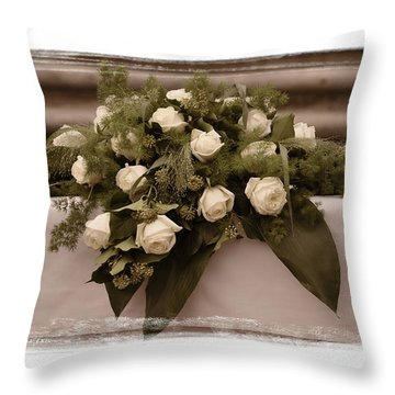White Roses For The Wedding Throw Pillow by Mary Machare