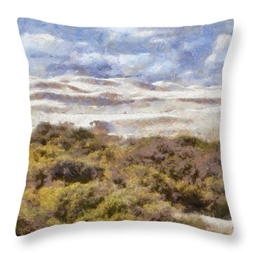 Throw Pillow featuring the digital art white sands in Lancelin by Roberto Gagliardi
