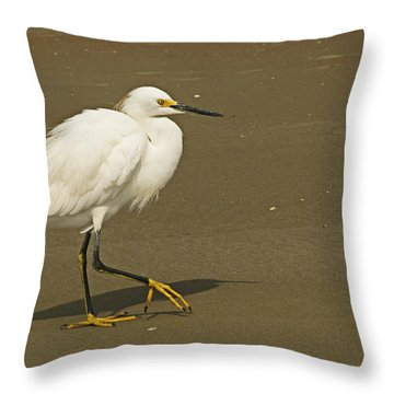 White Seabird Walking Throw Pillow