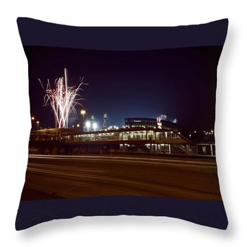 White Sox Homer Fireworks Throw Pillow by Sven Brogren