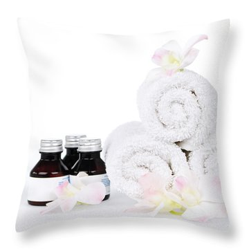 White Spa Throw Pillow by Elena Elisseeva