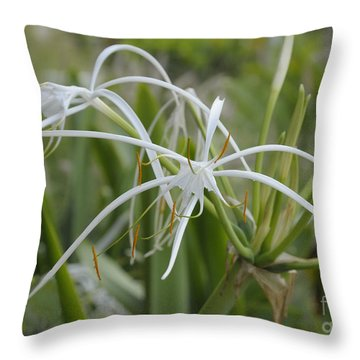 White Spider Orchid Throw Pillow by Cindy Lee Longhini