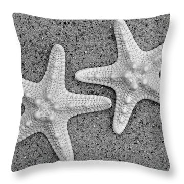 White Starfish In Black And White Throw Pillow by Sandi OReilly