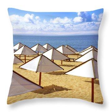 White Sunshades Throw Pillow by Carlos Caetano